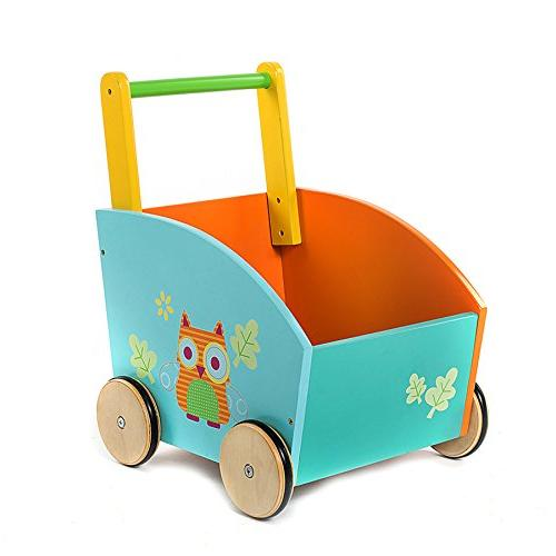 Labebe Little Toddler Learning Walker Year Up, 2-in-1 Use Toy Chest Storage, Sturdy Wood Pull and Owl