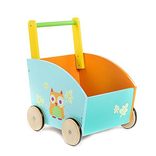 Labebe Toddler Learning Walker Year Sit-to-Stand 2-in-1 as Wood Push Toys for and Girls Owl