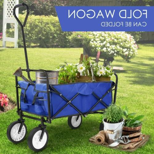 New Wagon Collapsible Folding Camp Trolley Garden Utility Blue