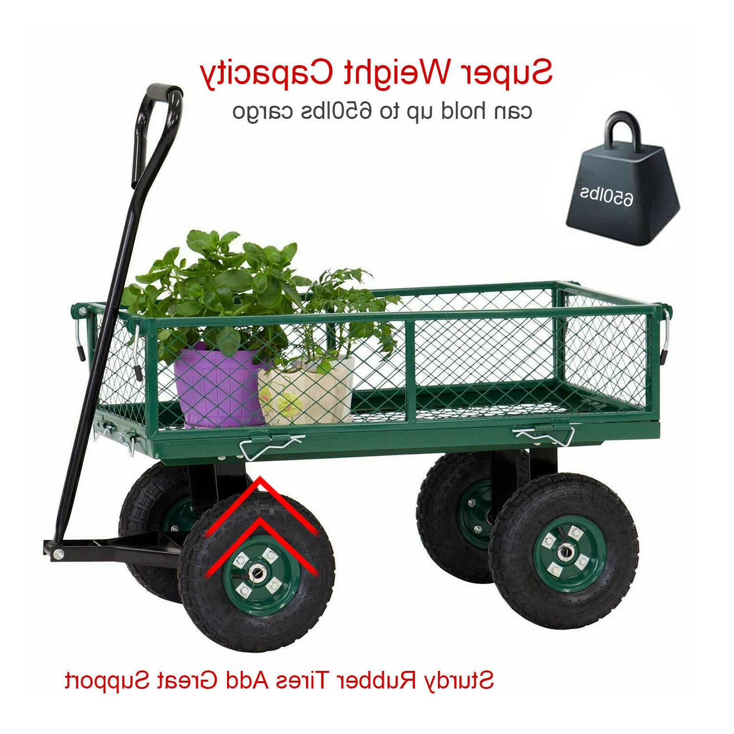 Outdoor Garden Cart Pull Wagon with Sides Lawn