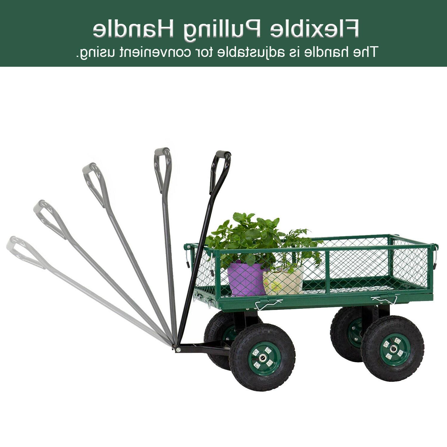 Outdoor Pull Wagon with Sides Lawn Duty