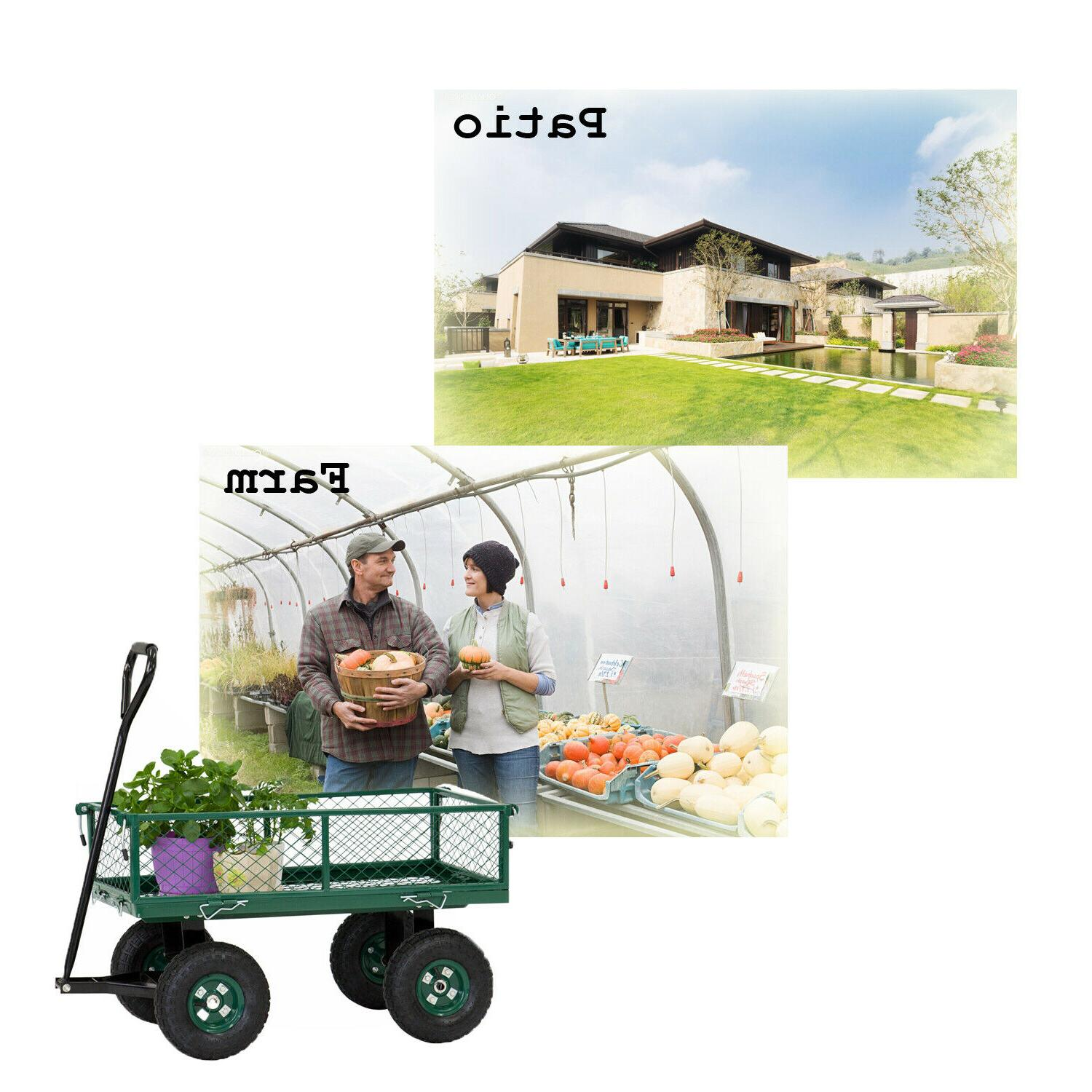 Outdoor Utility Yard Pull Trailer with Sides