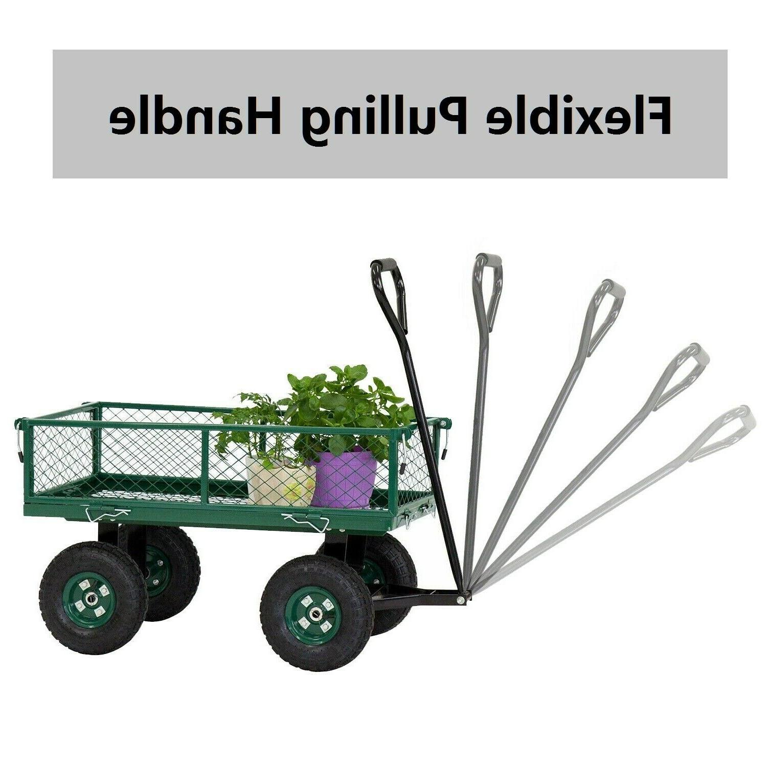 Outdoor Cart Utility Pull Trailer with Removable Sides