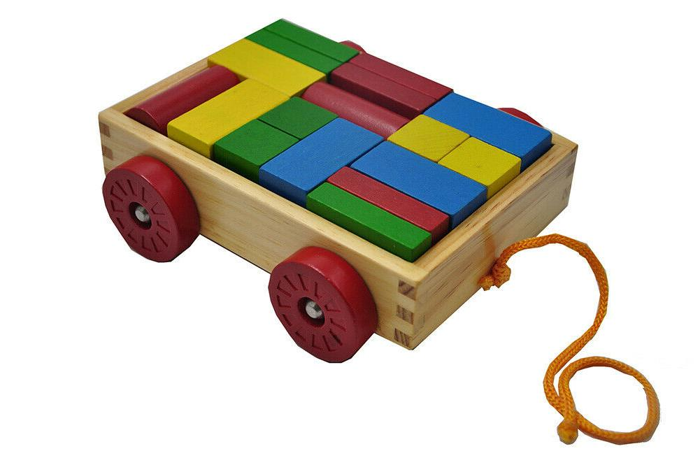PBS Wooden Pull-along Building Blocks Puzzle Kids Toys Education