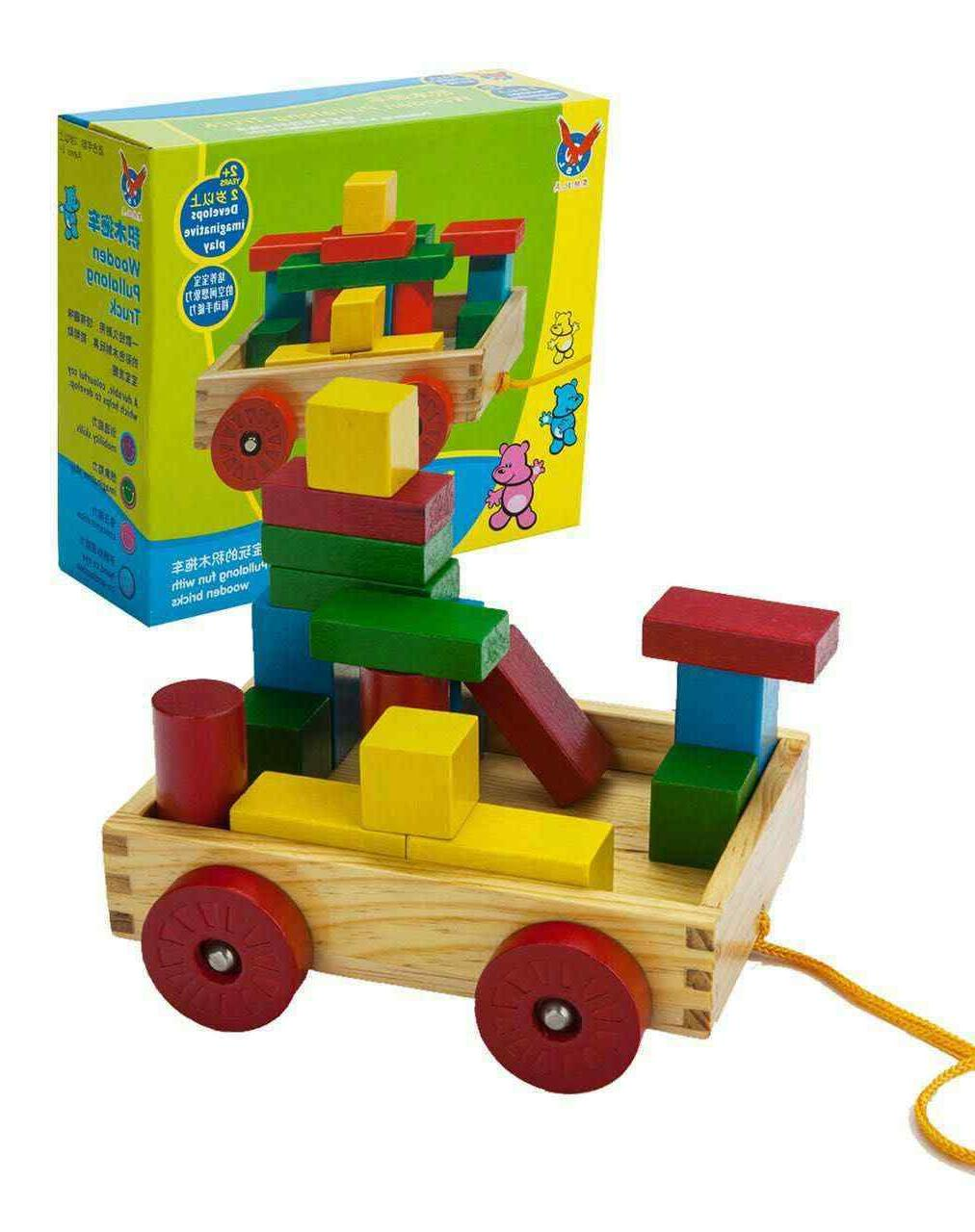 PBS Wooden Pull-along Building Puzzle Preschool Kids Toys