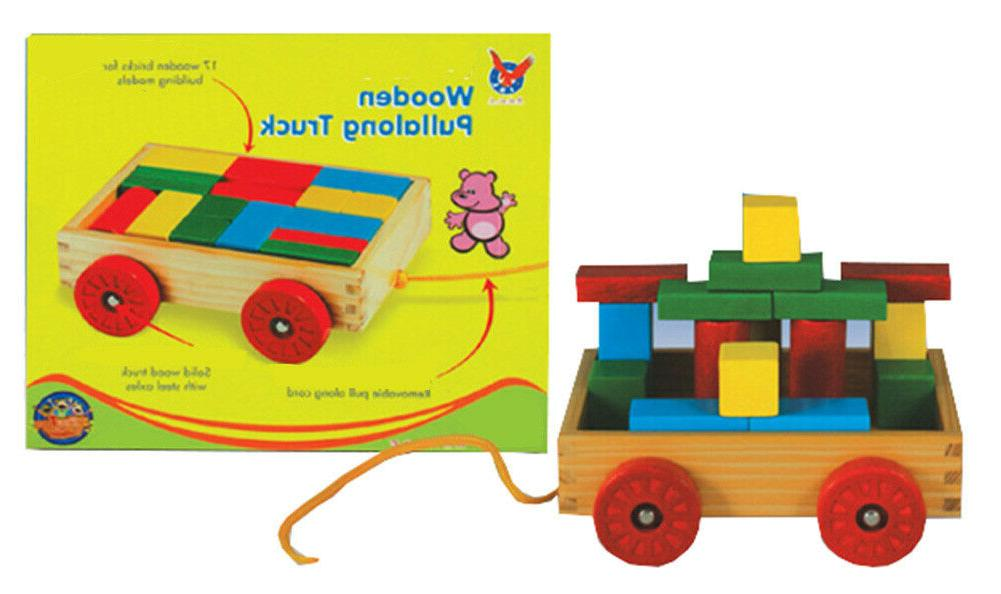 pbs wooden pull along wagon building blocks