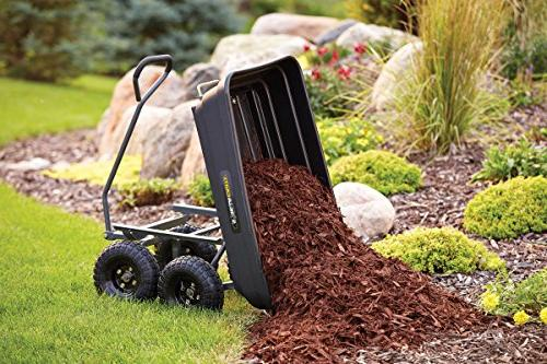 Gorilla Carts GOR4PS Poly Garden Dump Cart Steel Frame and Pneumatic Tires, Capacity, Black