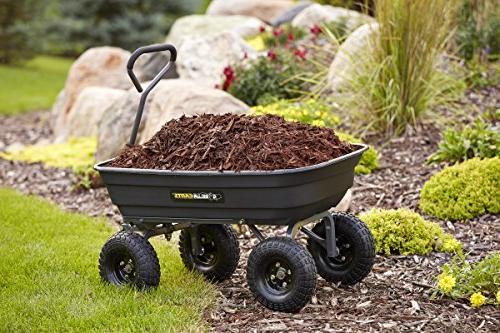 Gorilla GOR4PS Poly Garden Cart with Pneumatic 600-Pound Capacity, Black