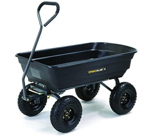 Gorilla Carts GOR4PS Poly Garden Dump Steel Frame 10-in. Pneumatic Black