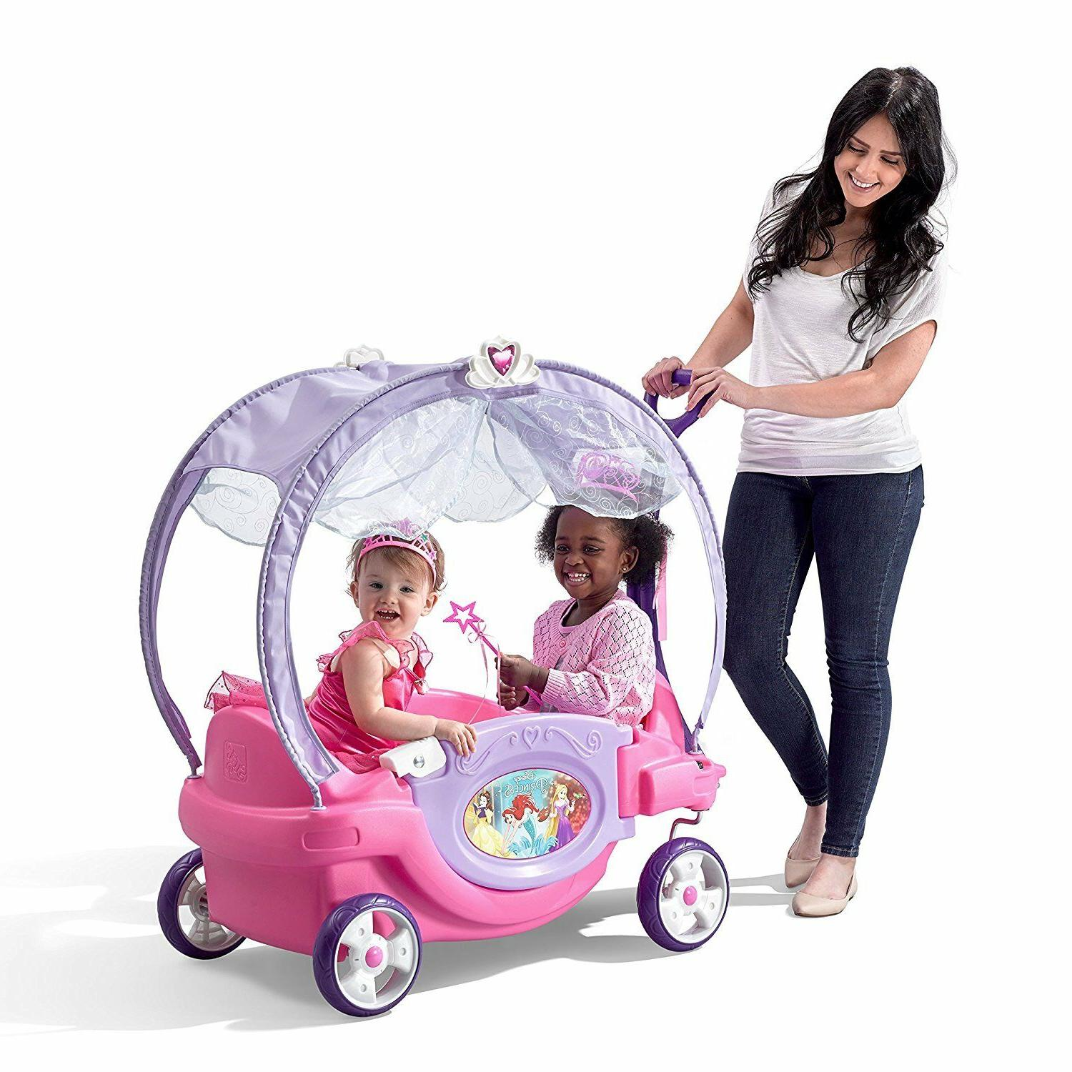 Princess Chariot Carriage Wagon Car 2 Kids Canopy Disney Rid