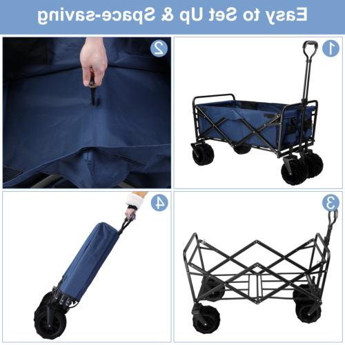 Pull Heavy All Terrain Wide Collapsible Folding Wagon Cart