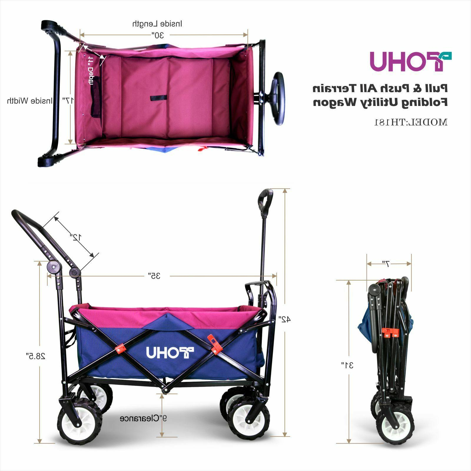 Pull Push Heavy Collapsible Folding Wagon Cart