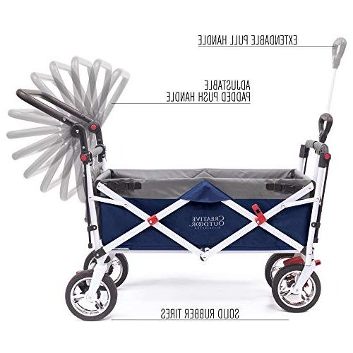 Creative Pull Collapsible Wagon Cart for Kids Silver Series Park Garden  