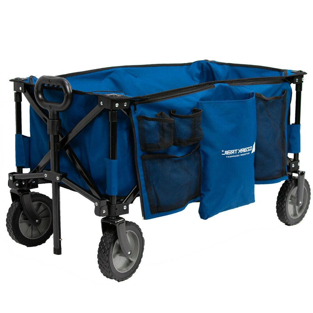 Compact Wagon Blue Cart Camping Gear Handle