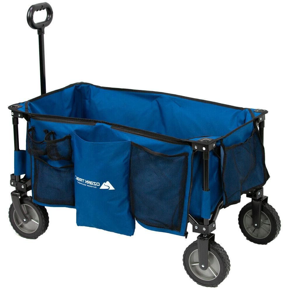 compact size quad folding wagon big blue