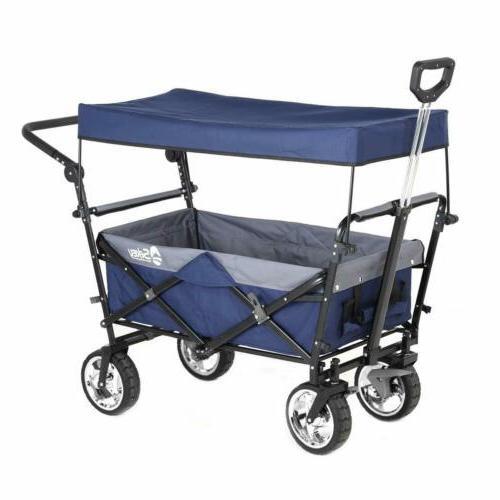 Folding Wagon Collapsible Garden Beach Push Cart Heavy Duty Portable