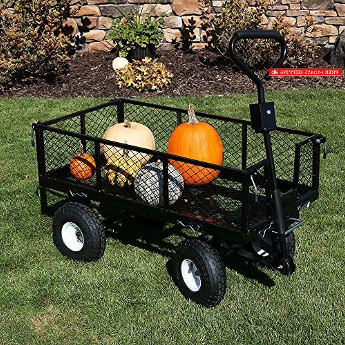 Sunnydaze Utility Steel Garden Cart, Lawn Wagon with