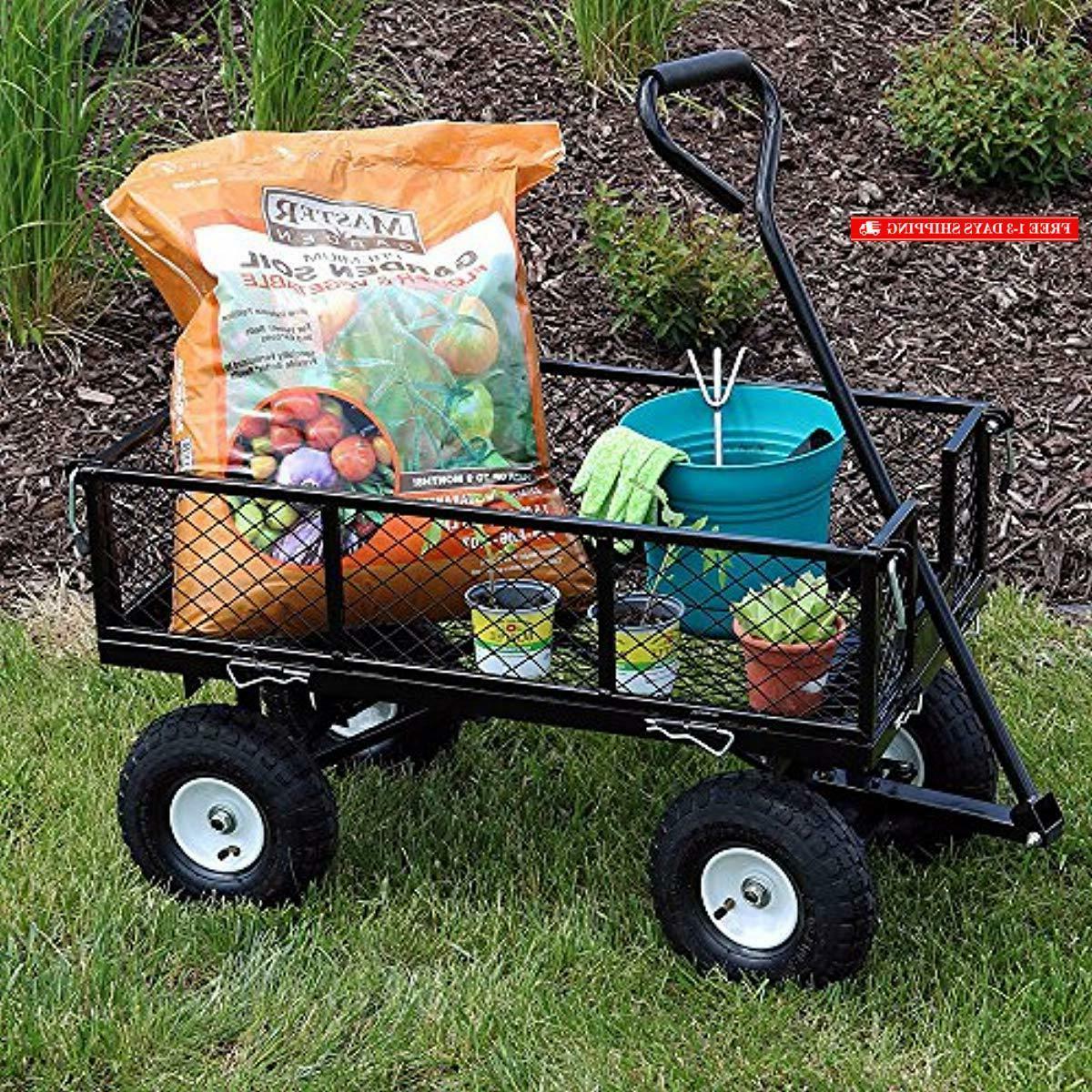 Sunnydaze Utility Garden Cart, with He