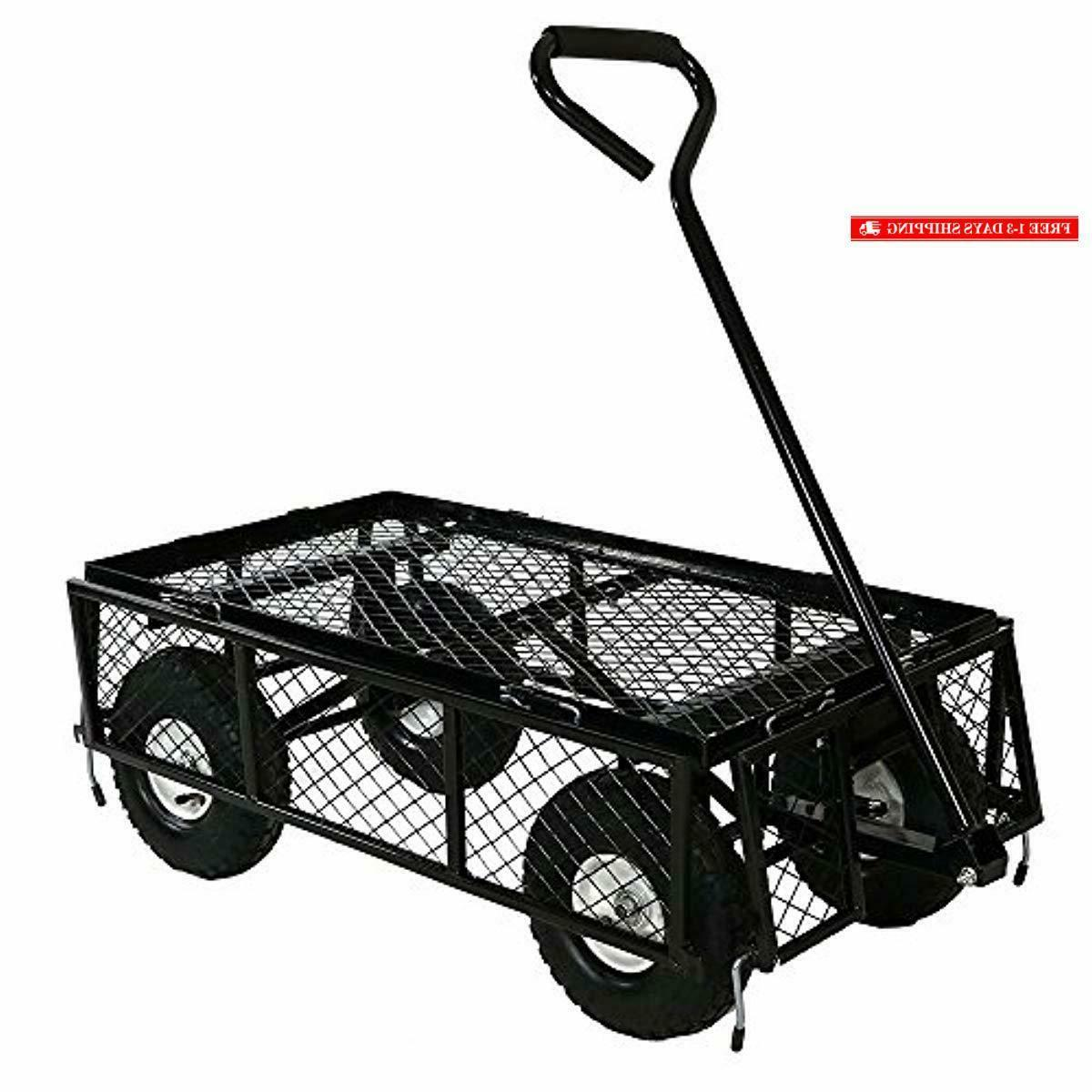 Sunnydaze Cart, Outdoor Lawn with Removable Sides,