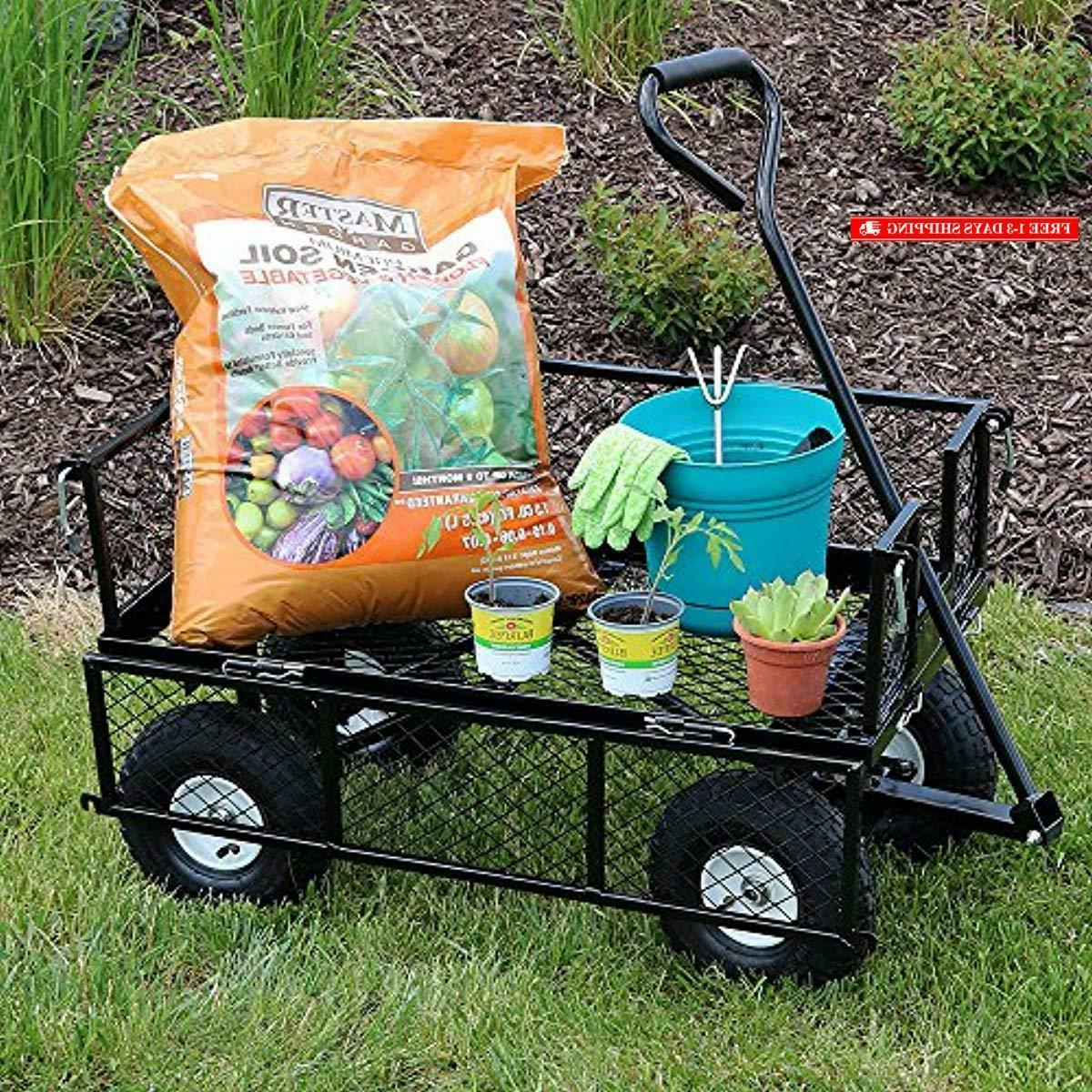 Sunnydaze Utility Steel Cart, Outdoor with Removable