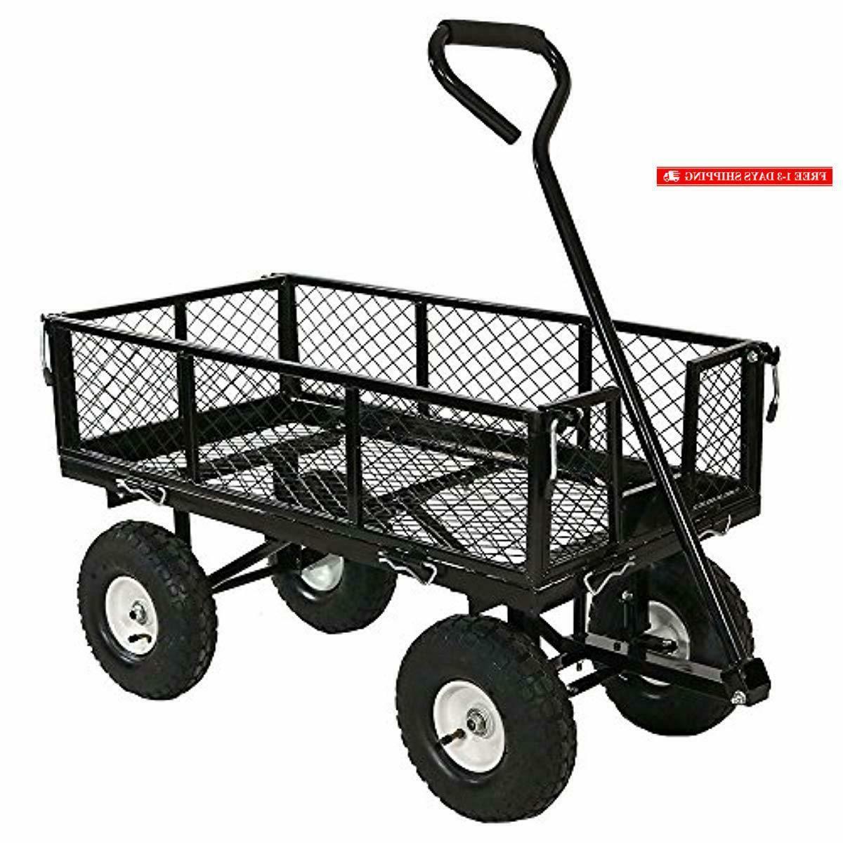 sunnydaze utility steel garden cart outdoor lawn