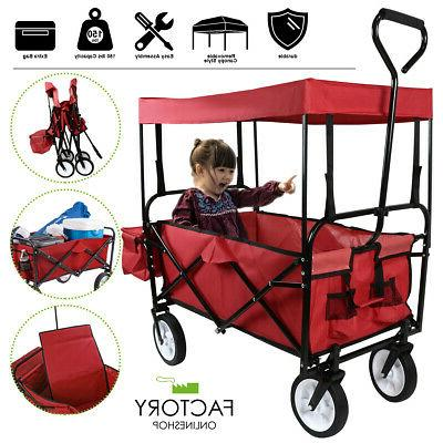 utility collapsible folding wagon cart w canopy