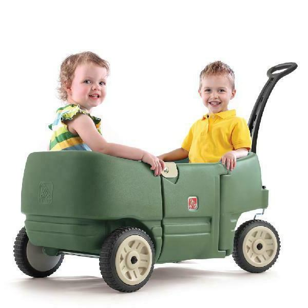 Step2 Wagon for Two Plus-Kids Pull Wagon Green Ride Toddlers