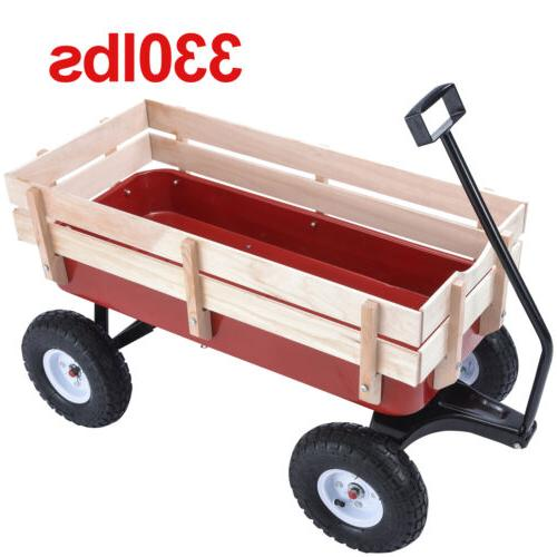 OUTDOOR WAGON PULLING CHILDREN KID GARDEN CART W/WOOD RAILIN