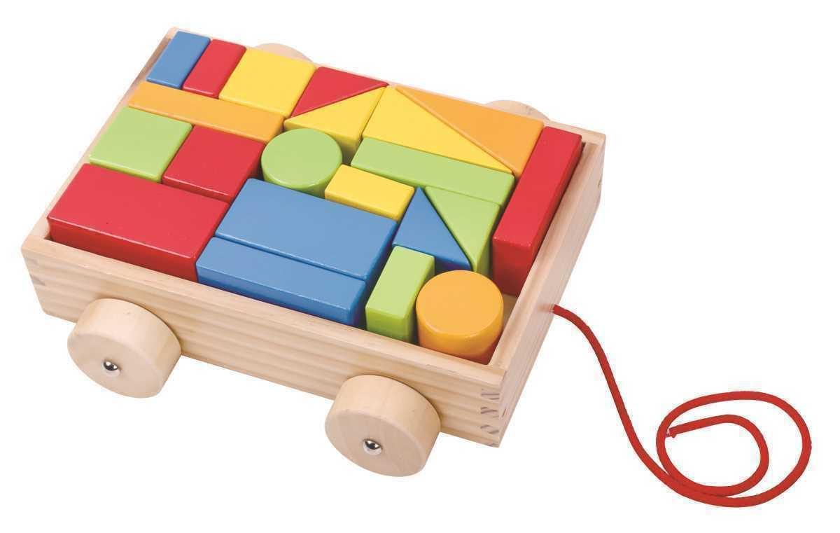 wooden coloured blocks in pull a long