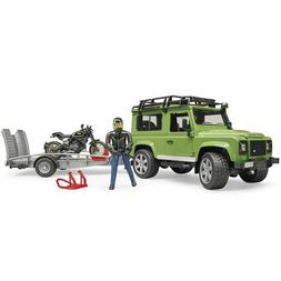 Bruder Land Rover Defender Wagon, trailer, Ducati bike and r