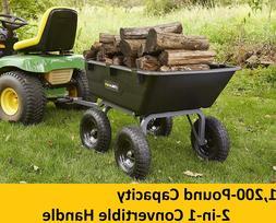 Lawn Tractor Yard Dump Cart Garden Wagons Utility Wheelbarro