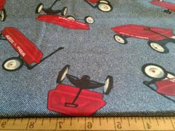 LITTLE RED WAGON RADIO FLYER BLUE JEAN BACKGROUND FABRIC OOP