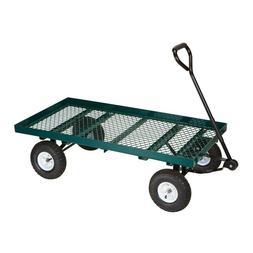Mesh Deck Steel Wagon Garden Trailer Cart Nursery Yard Heavy