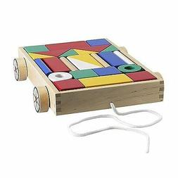 Ikea Mula 24 building blocks with wagon, Baby Toddler Wooden