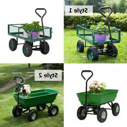 Outdoor Lawn Garden Cart Utility Pull Wagon Trailer Wheel Ba