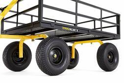 Outdoor Steel Utility Cart Heavy Duty Gorilla Rubber Wheels