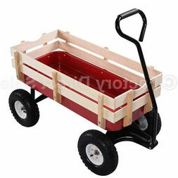 Outdoor Wagon Pulling Children Kid Garden Cart  w/ Wood Rail