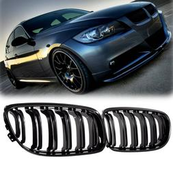 Pair Matte/Gloss Black Car Front Grille For BMW E90 LCI 3-<f