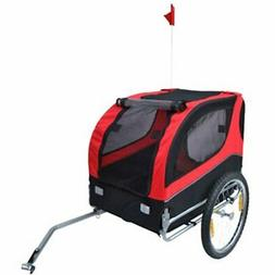 vidaXL Pet Dog Cat Bike Bicycle Trailer Foldable Lassie Red
