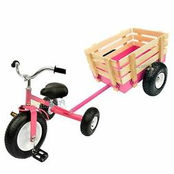 pink tricycle with wagon set pull along