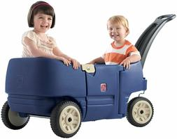 Plastic Wagon With Benches And Storage Pull Trailer Kids Chi