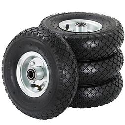 "4-Pack 10"" Pneumatic Tires Air Filled Replacement Wheels 3"""