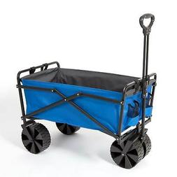 Seina Powder Coated Steel Garden Cart Beach Wagon, Blue & Gr