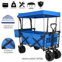 Push&Pull Collapsible Folding Wagon Cart w/Canopy Garden Bea