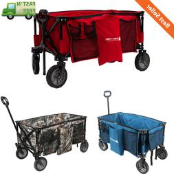Quad Folding Wagon w/ Telescoping Handle Portable Moving Sto