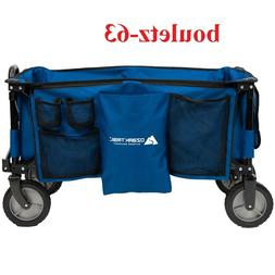 quad folding wagon with telescoping handle blue