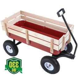 Red 330lbs Outdoor Wagon Pulling Kid Children Garden Cart wi