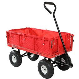 Sunnydaze Red Utility Cart with Folding Sides and Liner Set,
