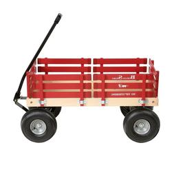 Red Wagon Hardwood & Reinforced Steel Body, Rubber Tires No-