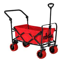 Red Wide Wheel Wagon All Terrain Folding Collapsible Utility